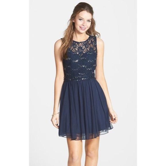 Navy Sequin Dress